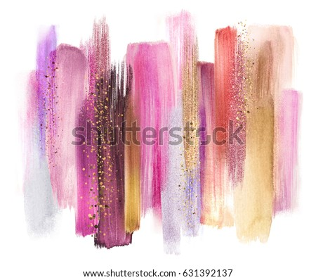 abstract watercolor brush strokes isolated on white, creative illustration, artistic color palette, grungy smear, red purple pink gold, fashion background