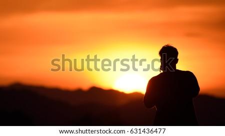 silhouette one man travel adventure #631436477
