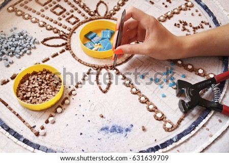 Artist, Mosaic Tools, Hand Craft, Uses Tweezers To Make Mosaic, Close Up