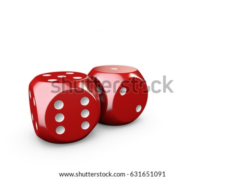 3d Illustration of casino dices and play card, isolated white #631651091