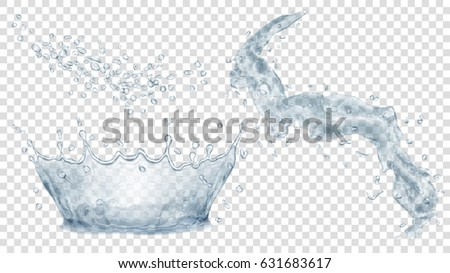 Transparent water crown, splash and set of drops in gray colors. Transparency only in vector file #631683617