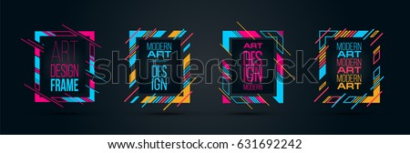 Vector frame Art graphics for hipsters . dynamic frame stylish geometric black background . element for design business cards, invitations, gift cards, flyers brochures. ALSO HAVE VIDEO GRAPHICS