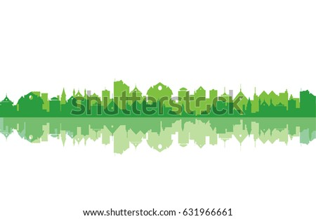 Bright green city silhouette abstract vector cityscape illustration, reflection Royalty-Free Stock Photo #631966661