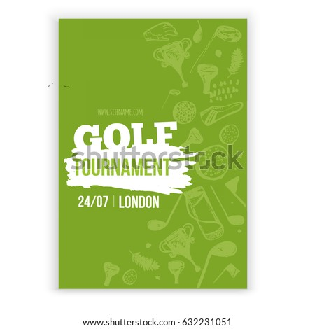 Golf flyer vector illustration. Tournament design invitation with hand drawn grunge elements. Easy to edit for your promotion