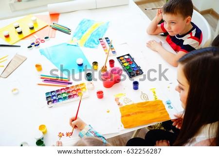 Art lesson in kindergarten #632256287