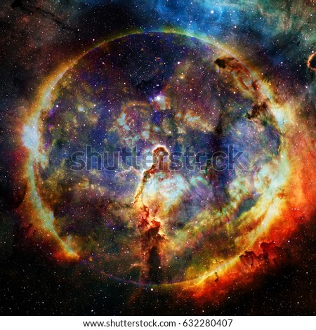 Hot sun on a background of the nebula. Science fiction art. Elements of this Image furnished by NASA #632280407
