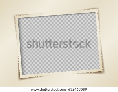 retro photo frame vector design, Torn paper is a picture frame isolated of transparency. Royalty-Free Stock Photo #632463089