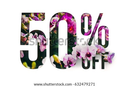Brilliant Promotion sale poster, banner, ads 50% off discount. Precious Paper cut with real orchid flowers and leaves. For your unique selling poster / banner promotion offer discount ads. #632479271