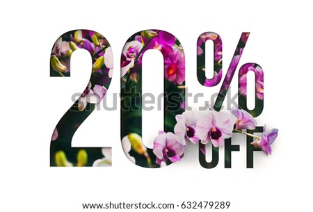 Brilliant Promotion sale poster, banner, ads 20% off discount. Precious Paper cut with real orchid flowers and leaves. For your unique selling poster / banner promotion offer discount ads. #632479289