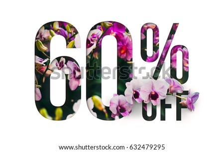 Brilliant Promotion sale poster, banner, ads 60% off discount. Precious Paper cut with real orchid flowers and leaves. For your unique selling poster / banner promotion offer discount ads. #632479295