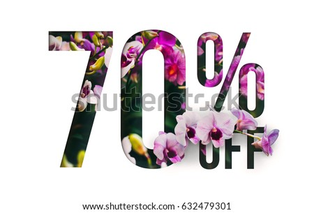 Brilliant Promotion sale poster, banner, ads 70% off discount. Precious Paper cut with real orchid flowers and leaves. For your unique selling poster / banner promotion offer discount ads. #632479301