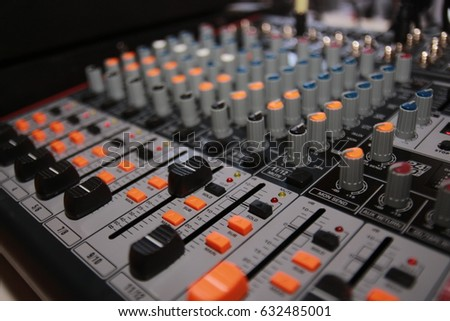 mixer button , sound control panel on soft background #632485001