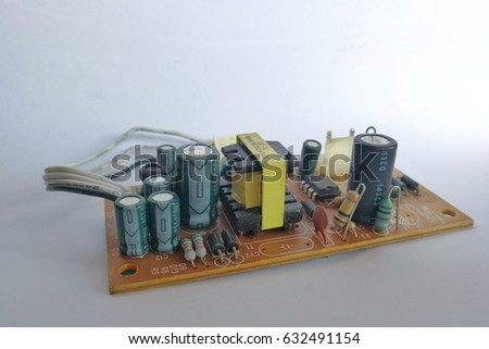 Circuit board power supply on white bacground. #632491154