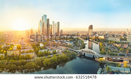 Sunrise over Moscow City district and Moscow river #632518478