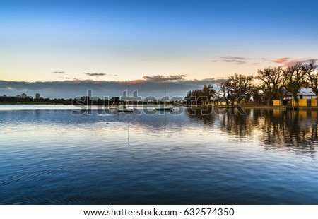 clear sky Albert park lake reflections Melbourne city autumn  #632574350