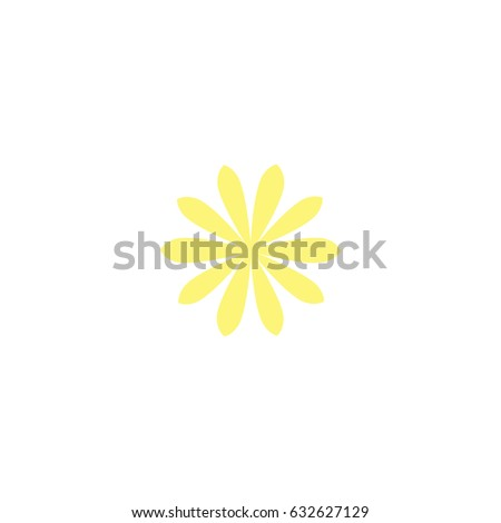 Yellow flat icon of daisy flower. Isolated on white. Vector illustration. Eco style. Nature symbol. #632627129