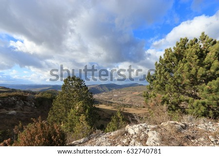 Country landscape in Corbieres, Aude in Occitanie region of France #632740781