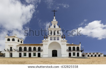 El Rocio hermitage in small village with the same name in Almonte, Huelva, Andalusia, Spain #632825558