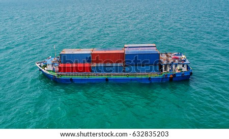container,container ship in import export and business logistic,By crane ,Trade Port , Shipping,cargo to harbor.Aerial view,Water transport,International,Shell Marine,transportation,logistic #632835203