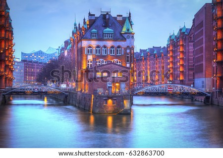 Warehouse district of Hamburg at night. Speicherstadt  #632863700
