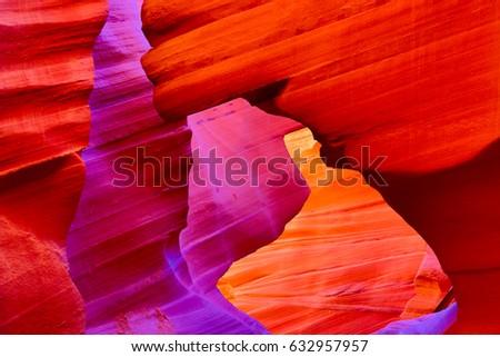 Famous Antelope canyon near Page, Arizona Royalty-Free Stock Photo #632957957