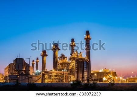 Turbine generator electric power plant with twilight #633072239
