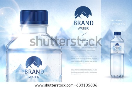 pure mineral water ad, with bottle close up on the left side and smaller bottle on the right side, snow mountain background 3d illustration  #633105806