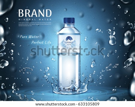 pure mineral water ad, plastic bottle in the middle and flying water drop elements, blue background 3d illustration  Royalty-Free Stock Photo #633105809