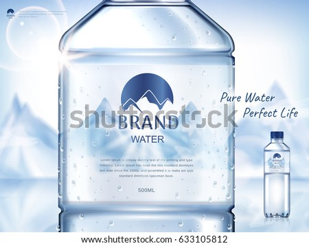 pure mineral water ad, with bottle close up in the middle and smaller bottle on the right side, snow mountain background 3d illustration  #633105812