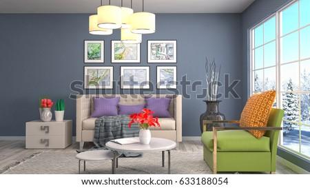 Interior living room. 3d illustration #633188054