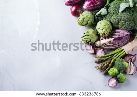 Assortment of fresh organic farmer vegetables food for cooking vegan vegetarian diet and nutrition. Copy space background, top view flat lay overhead #633236786
