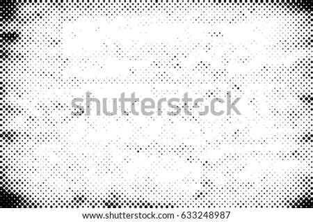 Grunge Halftone Vintage Vector Background. Ink Dots Texture Design Element. Easy To Create Abstract Dirty, Damaged,  Dotted, Spotted, Circles Effect. Aging Dots Overlay. Round Particles Backdrop  #633248987