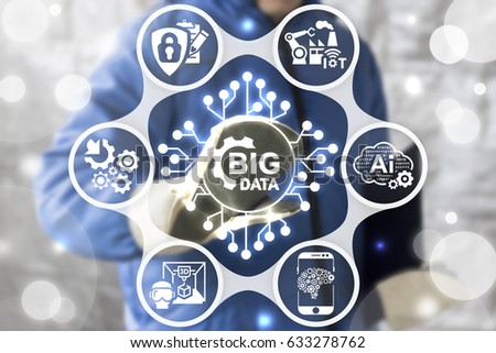 Big data service industries 4 concept. Industrial modern integrated manufacturing engineering technology. Worker touched icon microcircuit cogwheel BIG DATA on virtual screen. Smart manufacture. #633278762