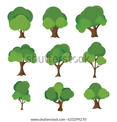 Vector Illustration : Collection of various trees #633299270