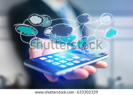 View of Hand drawn chart organization icon going out a smartphone interface of a businessman at the office - Business concept