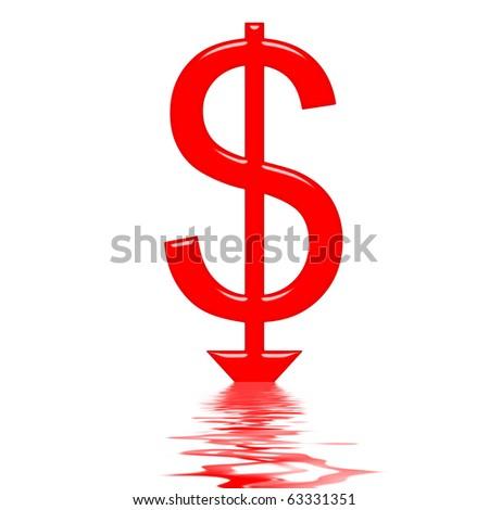 Sinking dollar concept #63331351