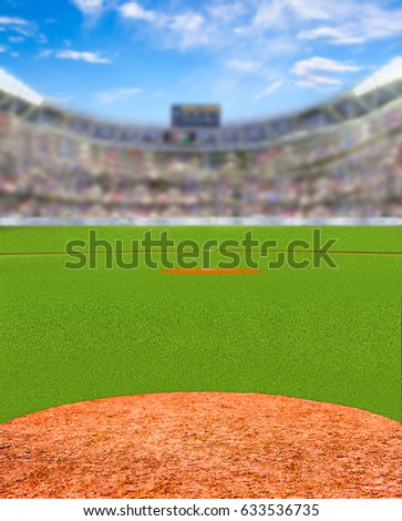 Fictitious baseball stadium full of fans in the stands with deliberate focus on foreground and shallow depth of field on background.