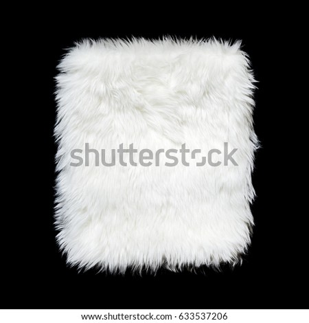 White background texture Artificial Fur Square shape on black color, Die cut isolated. Royalty-Free Stock Photo #633537206