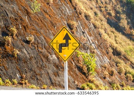 right and left turn coming sign #633546395