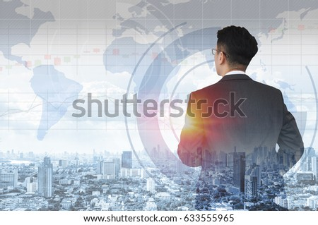 double exposure of businessman and city #633555965