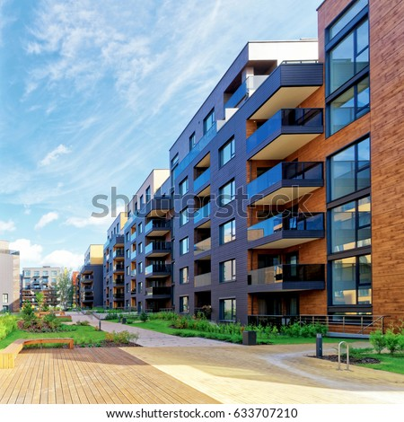 Vilnius, Lithuania - October 1, 2016: European modern complex of residential buildings. And outdoor facilities. #633707210