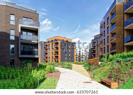 Vilnius, Lithuania - October 1, 2016: Modern european architecture of residential building quarter. And outdoor facilities. #633707261