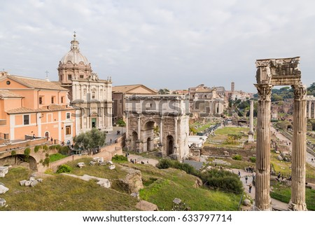 Rome, Italy. Antique ruins of the Roman Forum #633797714