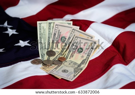 Flag of the USA and money #633872006