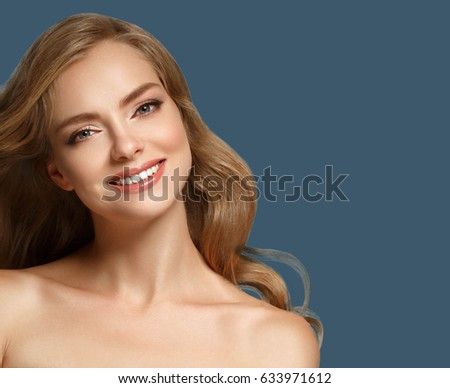 Woman cosmetic closeup beauty portrait, for salon beautiful people and healthy care skin and hair over blue color background #633971612
