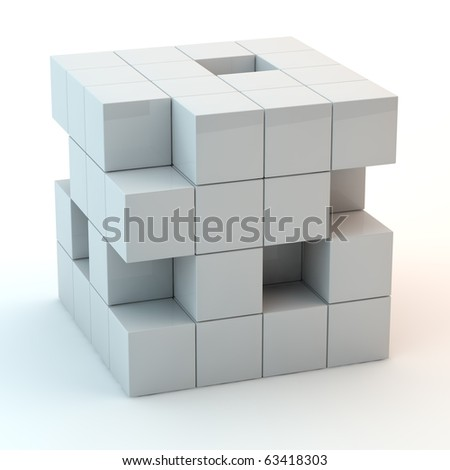 abstract white cube from many small cubes