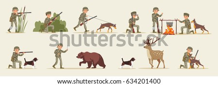Hunting elements set with hunters in different situations food cooking dog bear and deer isolated vector illustration #634201400