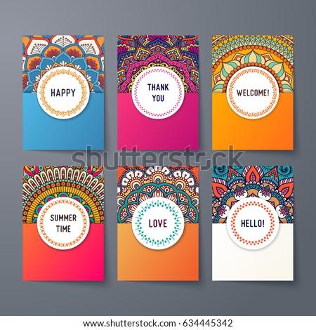 Business Cards. Vintage decorative elements. Ornamental floral business cards, oriental pattern, vector illustration. Islam, Arabic, Indian, turkish, pakistan, chinese, ottoman motifs. Royalty-Free Stock Photo #634445342