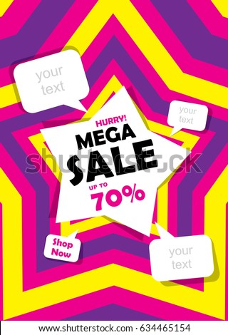 mega sale banner design using colorful star #634465154