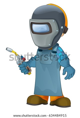 cartoon construction worker in some additional safety cover welder in mask with a tool